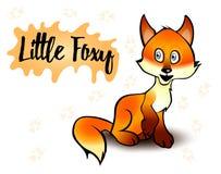 Ilustração do vetor de uma raposa Assento pouco foxy Fundo branco Foto de Stock Royalty Free