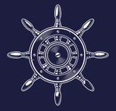 Ilustração do vetor de uma roda do navio no fundo escuro ilustração do vetor