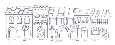 Ilustração do vetor de uma rua velha da cidade ilustração stock