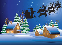 Ilustração do vetor de uma vila snow-covered. ilustração stock