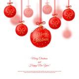 Ilustração do vetor Decorações realísticas do Natal em um branco Imagem de Stock Royalty Free