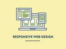 Ilustração do vetor, design web responsivo mostrado Imagens de Stock