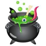 Ilustração do vetor do Dia das Bruxas do caldeirão da bruxa dos desenhos animados imagens de stock