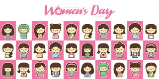 Ilustração do vetor do dia das mulheres internacionais com grupo diverso de mulheres da idade, da raça e de equipamentos diferent foto de stock