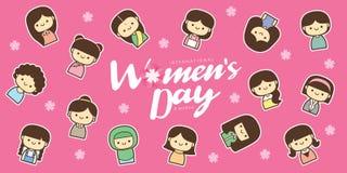 Ilustração do vetor do dia das mulheres internacionais com grupo diverso de mulheres da idade, da raça e de equipamentos diferent imagem de stock royalty free