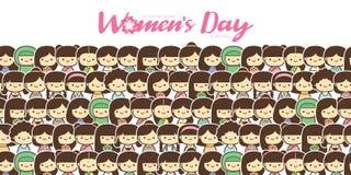 Ilustração do vetor do dia das mulheres internacionais com grupo diverso de mulheres da idade, da raça e de equipamentos diferent imagens de stock royalty free
