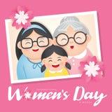 Ilustração do vetor do dia das mulheres internacionais com grupo diverso de mulheres da idade, da raça e de equipamentos diferent imagens de stock