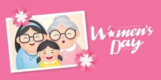 Ilustração do vetor do dia das mulheres internacionais com grupo diverso de mulheres da idade, da raça e de equipamentos diferent fotos de stock