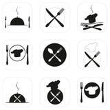 Ilustração do vetor do ícone Alimento, ícones do restaurante, logotipo, emblemas Foto de Stock Royalty Free