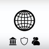 Ilustração do vetor do ícone do globo Estilo liso do projeto Foto de Stock Royalty Free