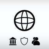 Ilustração do vetor do ícone do globo Estilo liso do projeto Fotografia de Stock