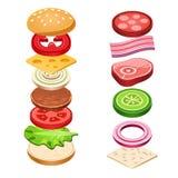 Ilustração do vetor do alimento dos ingredientes do sanduíche ilustração royalty free