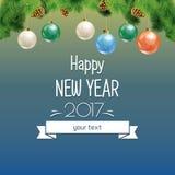 Ilustração do vetor do ano novo e do Natal Imagens de Stock Royalty Free