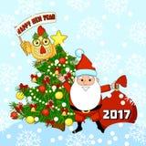 Ilustração do vetor do ano novo feliz com Santa Claus, a árvore de Natal e o galo Galo Fotografia de Stock
