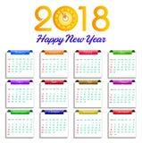 Ilustração do vetor do ano novo feliz do calendário 2018 Fotografia de Stock