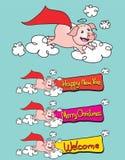 Ilustração do vetor do ano novo feliz do porco do voo Fotos de Stock Royalty Free
