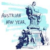 Ilustração do vetor do ano novo Série mundialmente famosa de Landmarck: Áustria, Viena, fonte de Dunnerbrunnen Ano novo austríaco ilustração stock