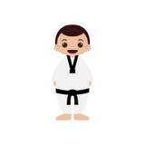 Ilustração do vetor do atleta de taekwondo dos desenhos animados Imagens de Stock Royalty Free