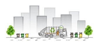 Ilustração do vetor do caminhão de lixo da cidade Fotografia de Stock