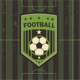 Ilustração do vetor do campo de futebol do emblema do futebol Fotografia de Stock