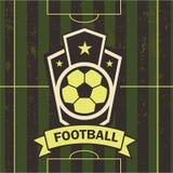 Ilustração do vetor do campo de futebol do emblema do futebol Fotografia de Stock Royalty Free