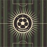Ilustração do vetor do campo de futebol do emblema do futebol Imagem de Stock Royalty Free