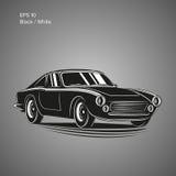 Ilustração do vetor do carro desportivo do vintage Automóvel clássico europeu ilustração stock