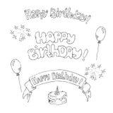 Ilustração do vetor do cartão do feliz aniversario à mão Fotos de Stock