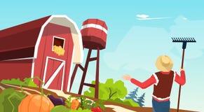 Ilustração do vetor do celeiro de Working On Farm do fazendeiro ilustração do vetor