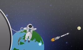 Ilustração do vetor do conceito da missão Astronautas na estação e no espaço Cosmonautas que voam em nenhuma gravidade Rocket ilustração stock