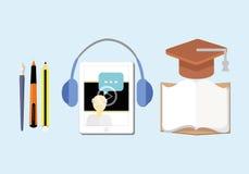 Ilustração do vetor do conceito do ensino eletrónico com quadro-negro Foto de Stock