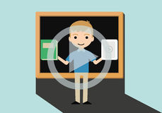 Ilustração do vetor do conceito do ensino eletrónico com quadro-negro Fotografia de Stock Royalty Free