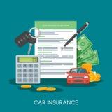 Ilustração do vetor do conceito do formulário do seguro de carro Auto chaves, carro, calculadora e dinheiro ilustração royalty free