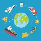 Ilustração do vetor do conceito do infographics da logística Foto de Stock