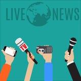 Ilustração do vetor do conceito do jornalismo no estilo liso Fotos de Stock