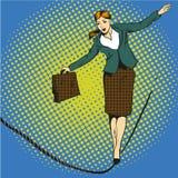 Ilustração do vetor do conceito do negócio no estilo cômico retro do pop art Caminhada da mulher de negócios na corda apertada ilustração royalty free