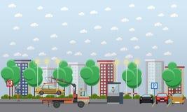 Ilustração do vetor do conceito do parque de estacionamento no estilo liso ilustração royalty free