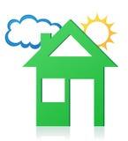Ilustração do vetor do conceito do sol e da nuvem da casa Fotos de Stock