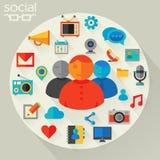 Ilustração do vetor do conceito social dos trabalhos em rede Fotos de Stock
