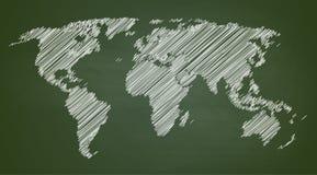 Ilustração do vetor do contorno do mapa do mundo no quadro ilustração royalty free