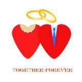 Ilustração do vetor do coração da aliança de casamento Foto de Stock