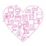 Ilustração do vetor do coração do quadro dos dispositivos Foto de Stock