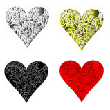 A ilustração do vetor do coração em cores e no estilo diferentes Imagem de Stock Royalty Free