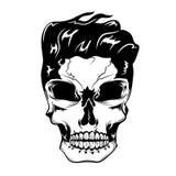 Ilustração do vetor do crânio com penteado do moderno ilustração stock