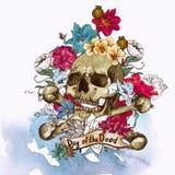 Ilustração do vetor do crânio e das flores Fotografia de Stock