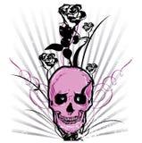 Ilustração do vetor do crânio e das rosas Imagens de Stock Royalty Free