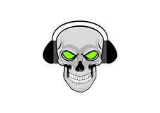 Ilustração do vetor do crânio humano com fones de ouvido ilustração do vetor