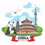 Ilustração do vetor do curso de China O chinês ajustou-se com arquitetura, alimento, trajes, símbolos tradicionais Tex chinês Fotos de Stock
