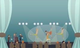 Ilustração do vetor do desempenho do bailado da dança no estilo liso Imagens de Stock