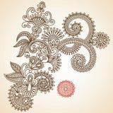 Ilustração do vetor do doodle das flores Imagens de Stock